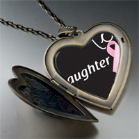 Necklace & Pendants - daughter support pink ribbon large heart locket pendant necklace Image.