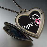 Necklace & Pendants - hope pink ribbon large heart locket pendant necklace Image.