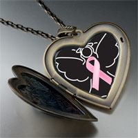 Necklace & Pendants - angel hope pink ribbon large heart locket pendant necklace Image.