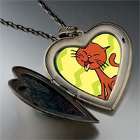 Necklace & Pendants - abyssinian cat large heart locket pendant necklace Image.