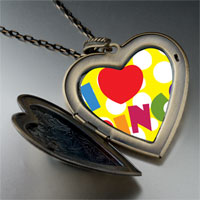 Necklace & Pendants - i love bingo large heart locket pendant necklace Image.