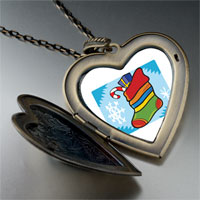 Necklace & Pendants - christmas jewelry christmas stocking snow large heart locket pendant necklace Image.