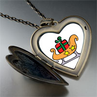 Necklace & Pendants - christmas sled large heart locket pendant necklace Image.