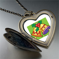 Necklace & Pendants - christmas jewelry yellow christmas bells large heart locket pendant necklace Image.