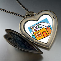 Necklace & Pendants - gingerbread christmas house large heart locket pendant necklace Image.