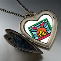 Necklace & Pendants - christmas fireplace large heart locket pendant necklace Image.