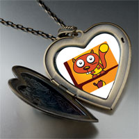Necklace & Pendants - eyed comic badger large heart locket pendant necklace Image.