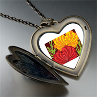 Necklace & Pendants - underwater yellow red flowers large heart locket pendant necklace Image.