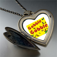 Necklace & Pendants - gobble thanksgiving turkey large heart locket pendant necklace Image.