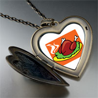 Necklace & Pendants - sizzling delicious turkey large heart locket pendant necklace Image.