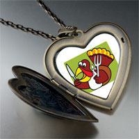 Necklace & Pendants - hungry thanksgiving turkey large heart locket pendant necklace Image.