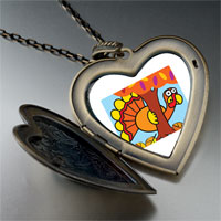 Necklace & Pendants - hiding thanksgiving turkey large heart locket pendant necklace Image.