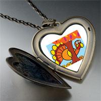 Necklace & Pendants - hiding thanksgiving turkey large heart locket pendant necklace Image.