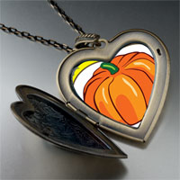 Necklace & Pendants - jack o lantern halloween pumpkin love heart and flower pendant Image.