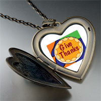 Necklace & Pendants - give thanks in thanksgiving large heart locket pendant necklace Image.
