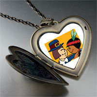 Necklace & Pendants - thanksgiving pilgrim indian couple large heart locket pendant necklace Image.