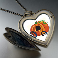 Necklace & Pendants - jack o lantern halloween pumpkin princess stage coach heart and flower pendant Image.