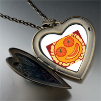 Necklace & Pendants - smiling jack o lantern halloween pumpkin pie heart and flower pendant Image.