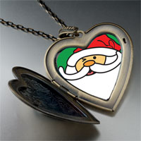 Necklace & Pendants - happy christmas santa claus large heart locket pendant necklace Image.