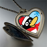 Necklace & Pendants - happy winter penguin large heart locket pendant necklace Image.