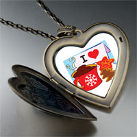 Necklace & Pendants - i love coffee cookies large heart locket pendant necklace Image.