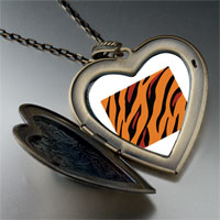 Necklace & Pendants - tiger skin large heart locket pendant necklace Image.