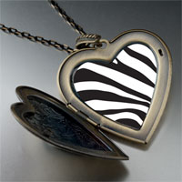 Necklace & Pendants - zebra skin large heart locket pendant necklace Image.
