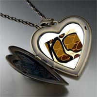 Necklace & Pendants - snake skin large heart locket pendant necklace Image.