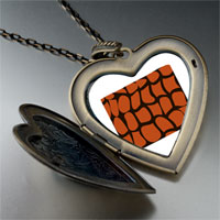 Necklace & Pendants - crocodile skin large heart locket pendant necklace Image.