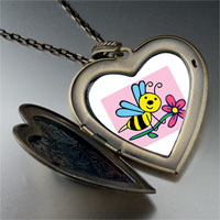 Necklace & Pendants - spring bee flower photo large heart locket pendant necklace Image.