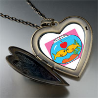 Necklace & Pendants - goldfish in love photo large heart locket pendant necklace Image.