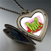 Necklace & Pendants - lovable frog photo large heart locket pendant necklace Image.