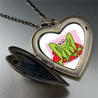 Necklace & Pendants - lovable frog photo large heart locket pendant necklace Image.