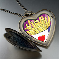 Necklace & Pendants - love french fries large heart locket pendant necklace Image.