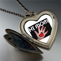 Necklace & Pendants - baby giving heart to mom large heart locket pendant necklace Image.