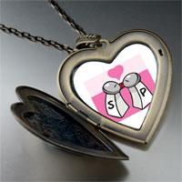 Necklace & Pendants - salt pepper love large heart locket pendant necklace Image.
