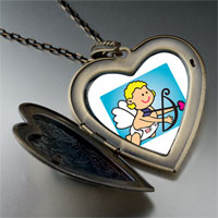 Necklace & Pendants - baby cupid angel large heart locket pendant necklace Image.