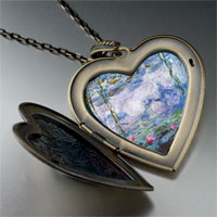 Necklace & Pendants - water lillies painting large heart locket pendant necklace Image.