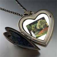 Necklace & Pendants - lady in garden painting large heart locket pendant necklace Image.
