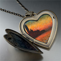 Necklace & Pendants - sunset in venice painting large heart locket pendant necklace Image.