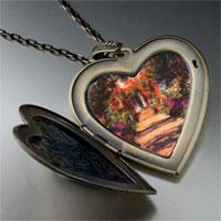 Necklace & Pendants - monet' s garden painting large heart locket pendant necklace Image.