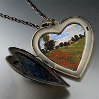 Necklace & Pendants - path in wheat pourville painting large heart locket pendant necklace Image.