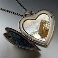 Necklace & Pendants - grainstacks snow effect painting large heart locket pendant necklace Image.