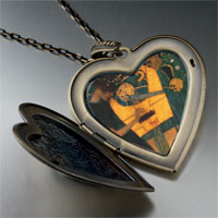 Necklace & Pendants - musique painting large heart locket pendant necklace Image.