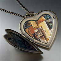 Necklace & Pendants - violin guitar painting large heart locket pendant necklace Image.