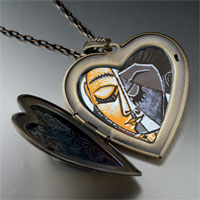 Necklace & Pendants - head girl reading painting large heart locket pendant necklace Image.