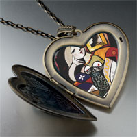 Necklace & Pendants - woman book painting large heart locket pendant necklace Image.