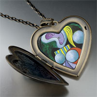 Necklace & Pendants - woman flower painting large heart locket pendant necklace Image.