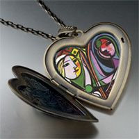 Necklace & Pendants - girl before a mirror painting large heart locket pendant necklace Image.