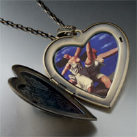 Necklace & Pendants - woman running on beach painting large heart locket pendant necklace Image.